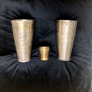 Anthropologie home etched metal cup set